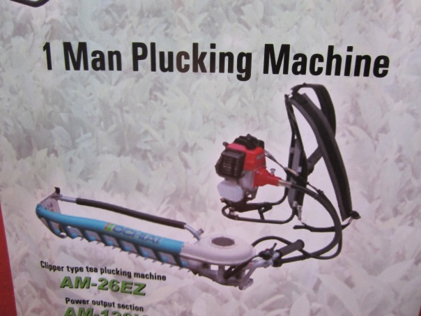 Here is a one person tea plucking machine pic from a catalog.