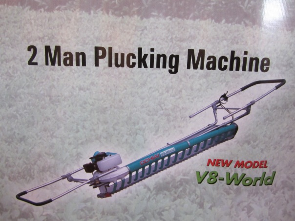Here is a two person tea plucking machine pic from a catalog.