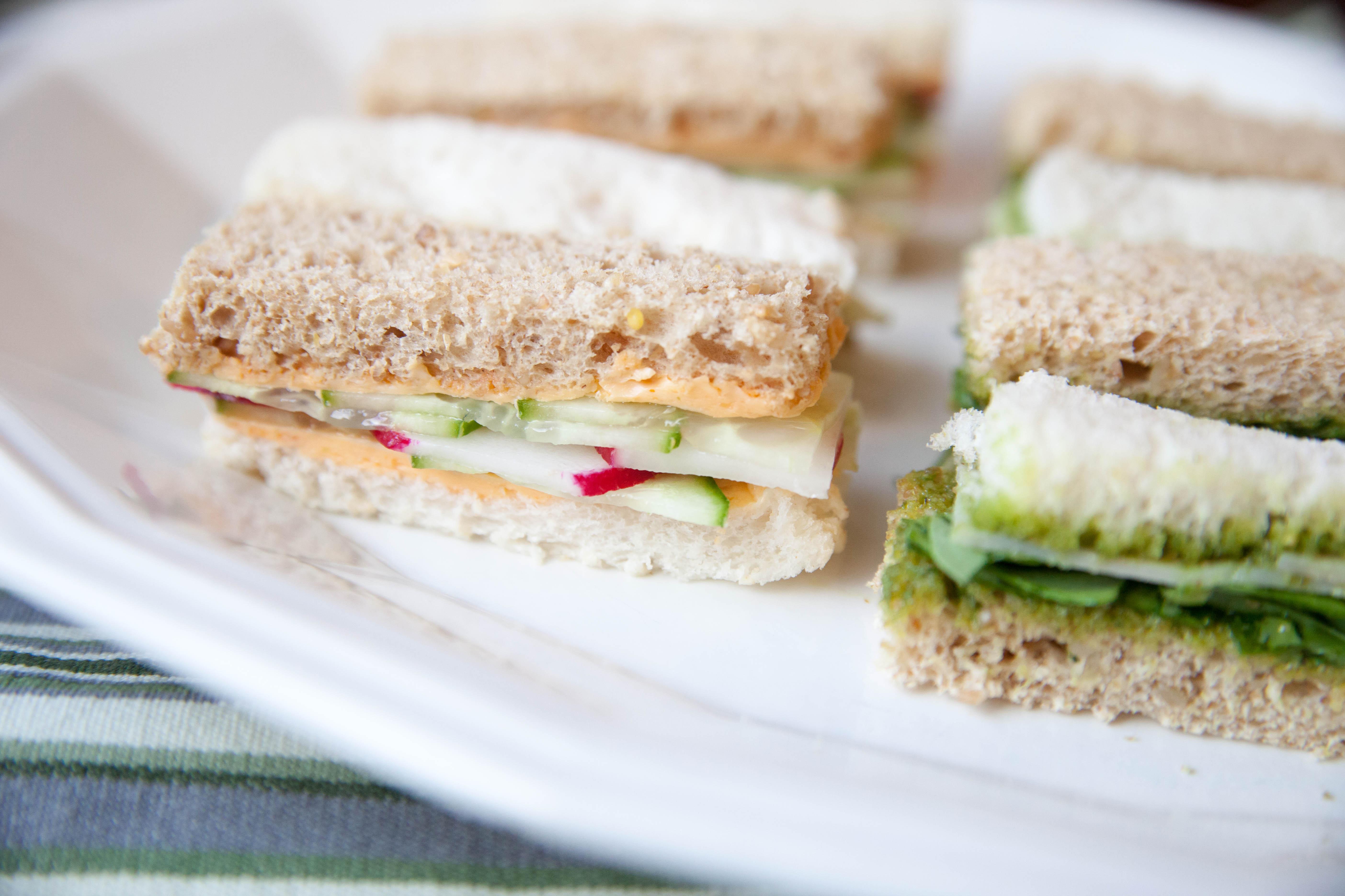 Cucumber, Radish and Sriracha Butter Finger Sandwiches