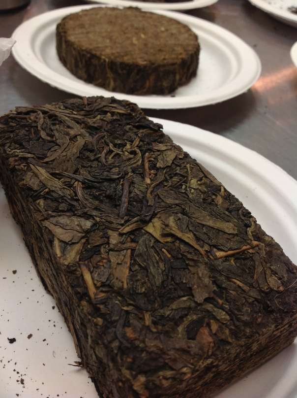 A couple of the teas we tasted, 100 Taels tea in the background and our Fu cha brick in the foreground.