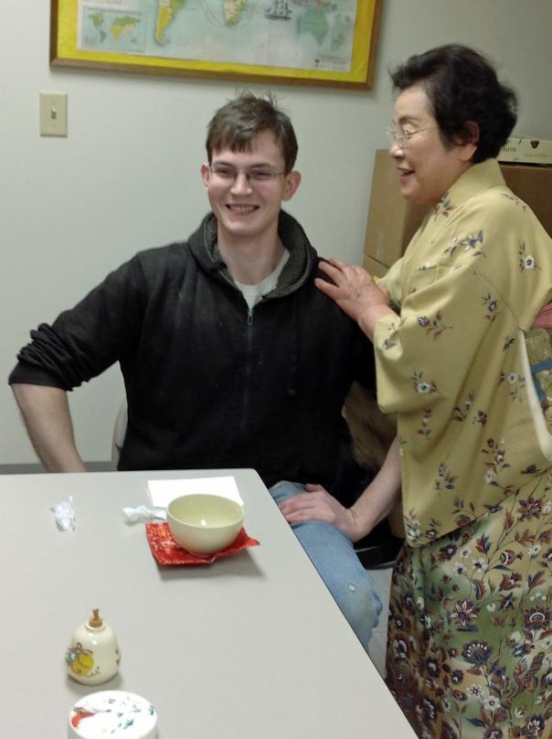 """Elliot (our senior tea blender), learning to """"sit like a samurai."""""""
