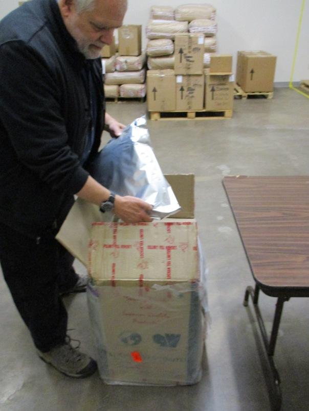 Bill opening up the box of the brand new Giddapahar Estate  Bai Mu Dan white tea from India.