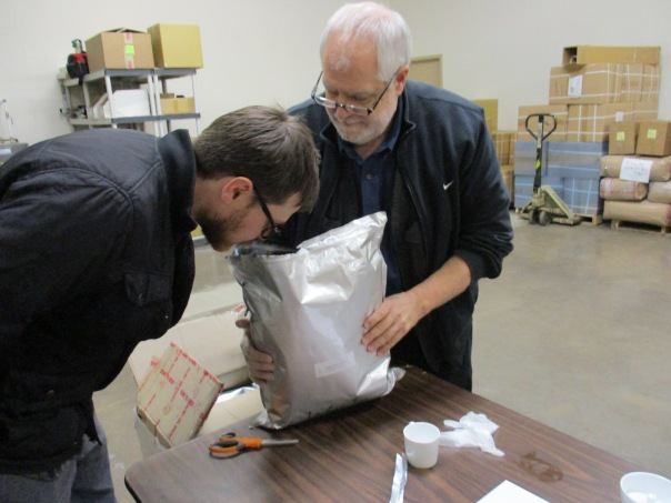 Ryan and Bill check the aroma of the newly opened bag. It smells AMAZING and incredibly fresh.