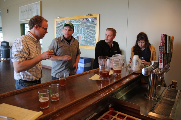 Jess & Timothy tasting the test batch of Make it So with Nick Hempfer and Head Brewer Damian McConn