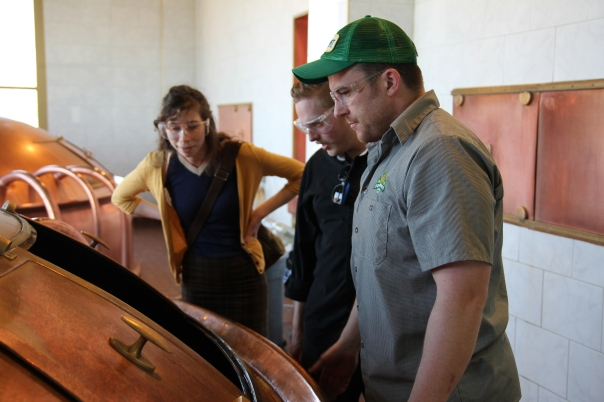 Jess & Timothy checking out the brewing process with brewer Nick Hempfer